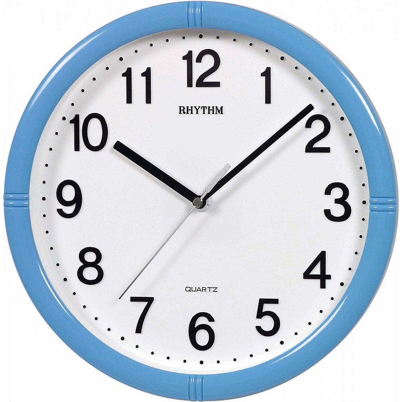Rhythm Japan 3d Numerals Silent Silky Move Blue Wall Clock